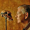 Don Johanson looking at Lucy's skull
