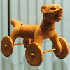A wheeled animal sculpture from Eastern Mexico