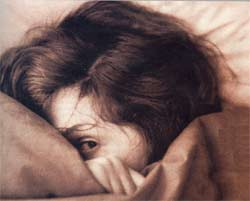 Illustration of women hiding face in an anxious way under the covers, in bed