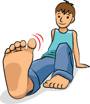 Cartoon boy wiggling his big toe.