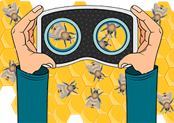 Illustration of VR googles looking at a virtual beehive.