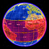 Globe view of Earth with the red region showing the tropic region as a red band