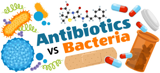Antibiotics vs. bacteria illustration