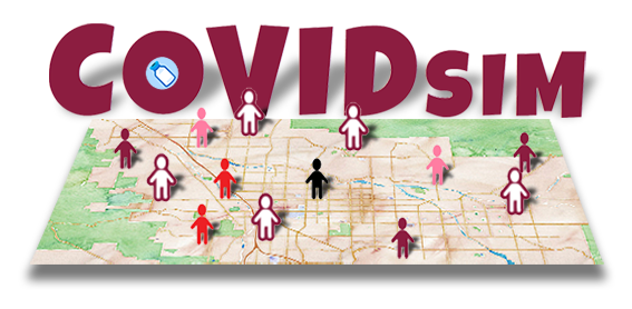 COVID simulation illustration of the COVID SIM title on a map, showing people