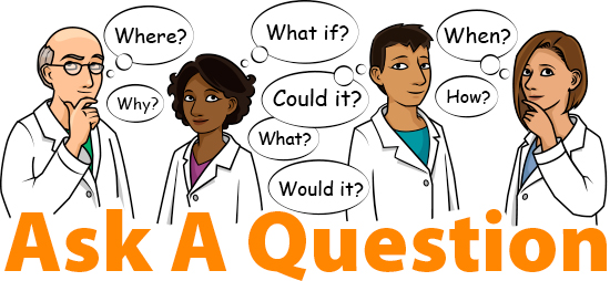 Scientists thinking of questions