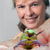 Mary Liz Jameson with chrome greeen scarab beetle.
