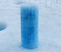 Sea ice core sample with dye added