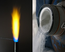 Flame and liquid nitrogen