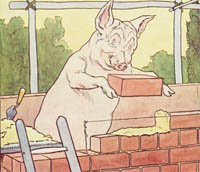 Pig building a brick wall