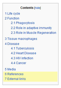 Wikipedia macrophage contents