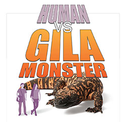 Human vs Gila monster graphic