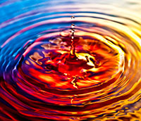 Water ripples with colored light