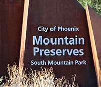 Entrance sign to South Mountain Park. Arizona