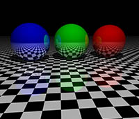 Blue, Green, Red, reflective balls on a checkered surface.