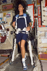 Astronauts exercise on special treadmills using bungie chords to help keep their muscles strong on long trips into space.