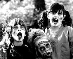 Kids dressed as zombies
