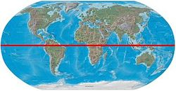 This image looks as though a globe has been flattens to show a map of the world. There is a thick red line running horizontally across the map that represents the Equator.