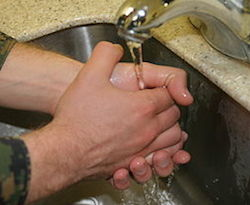 A person holds their hands in a clap-like position under a sink faucet. The person is holding their hands under the faucet in order to wash them