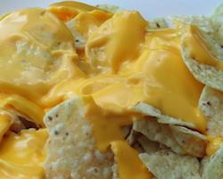Chips with nacho cheese on top