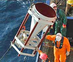 Placing remote sensors in the ocean.