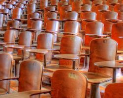 Empty seats in a lecture hall