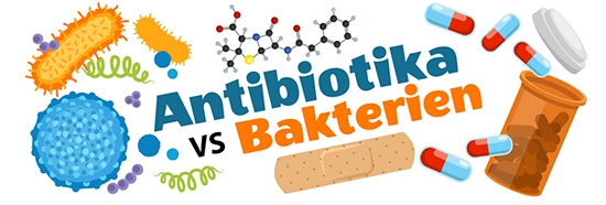 Antibiotics vs bacteria illustration in German