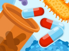 Illustration of antibiotic pills and bacteria