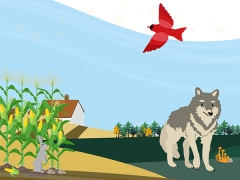 An illustration of rewilding, showing cornfields and a forest with wolves