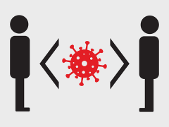 Social distancing and virus icon