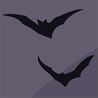 Two illustrated bats