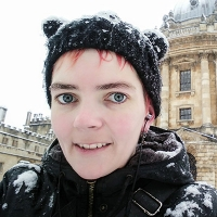 Fiona Naughton with cap on in the snow.