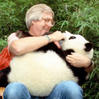 Andrew Smith holding a baby Panda image