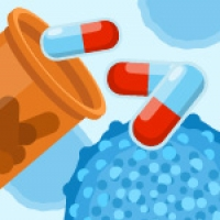 Illustration of pills (antibiotics) and bacteria