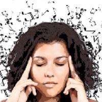 woman thinking music