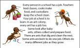 """An illustration of """"worker"""" ants, with one going shopping for food, one raising a young larva, and one dressed up as a miner, ready to dig."""