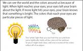 Illustration of the colors in light leaving a lightbulb and going toward the eye.