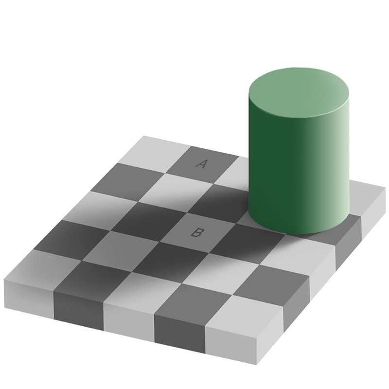 A cylinder with a shadow, sitting on a checkered board