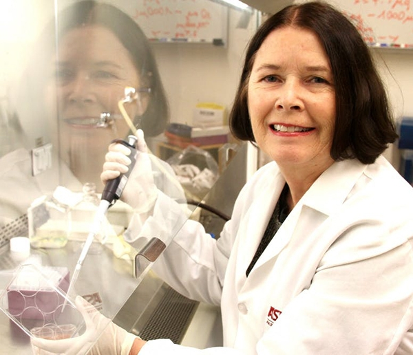 Virologist Brenda Hogue working in lab