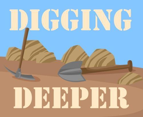 Digging deeper illustration with shovels
