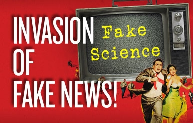 Invasion of fake news - old style television with fake science on the screen.