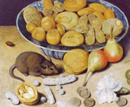 Still life with chestnuts and hazelnuts in a porcelain bowl, a Roemer, an apple, apricot, a beetle and a mouse by Georg Flegel