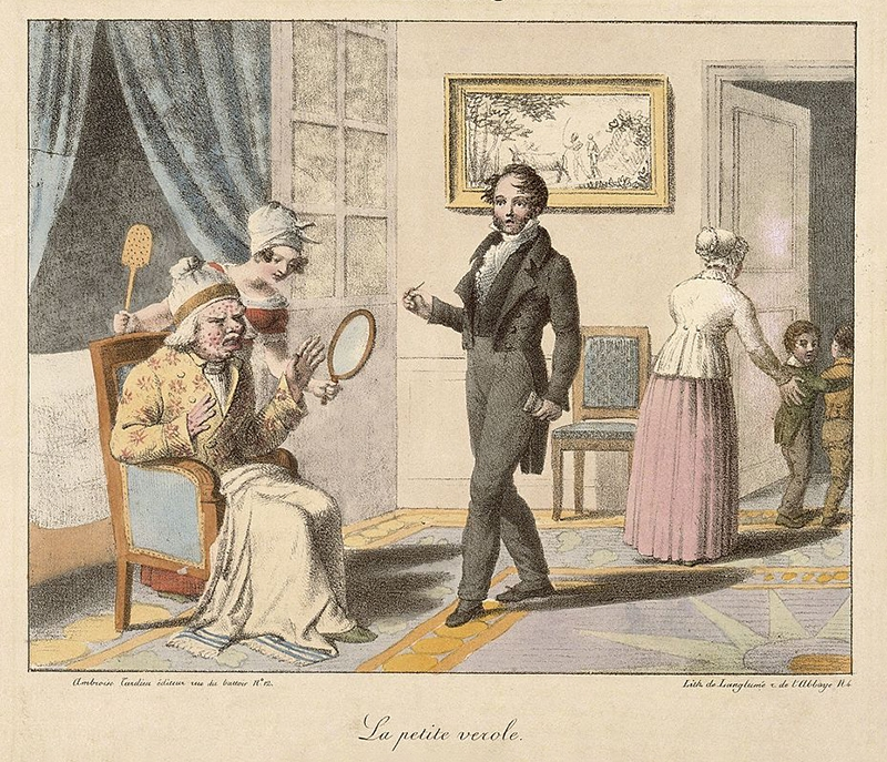 Painting of an old man being shown his small pox by a maid