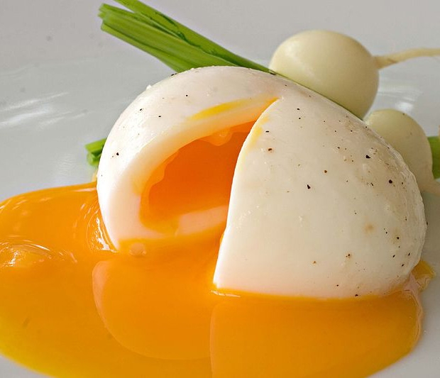Soft-boiled egg with solid egg whites