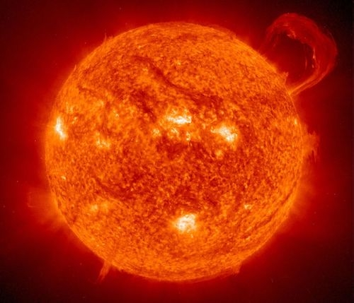 The sun with prominence