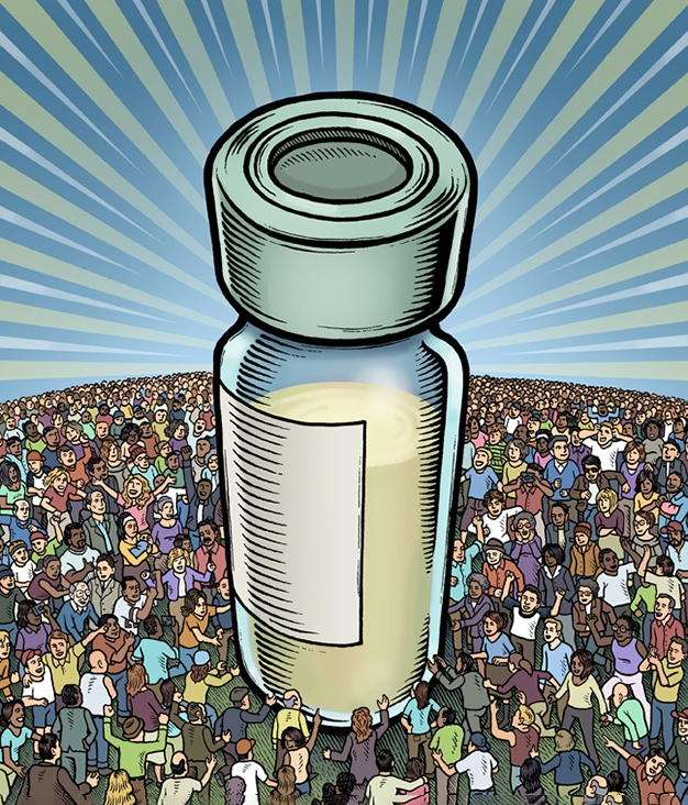 Illustration of a vaccine vial surrounded by people; The Vaccine, by Mario Zucca