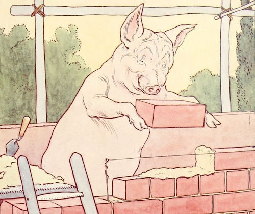 One little pig building a house with brick