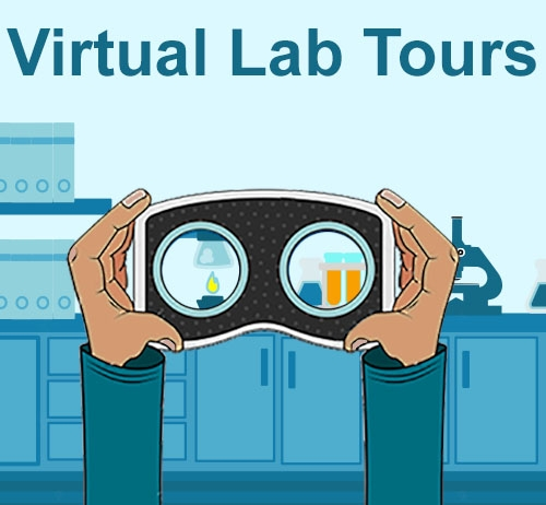 Cartoon drawing of a laboratory bench with a pair of hands holding up VR goggles.